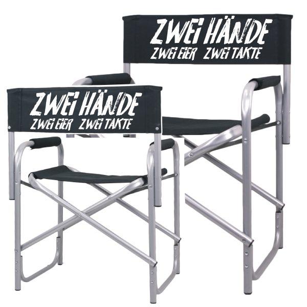 Regiestuhl zwei Hände, zwei Eier,zwei Takte